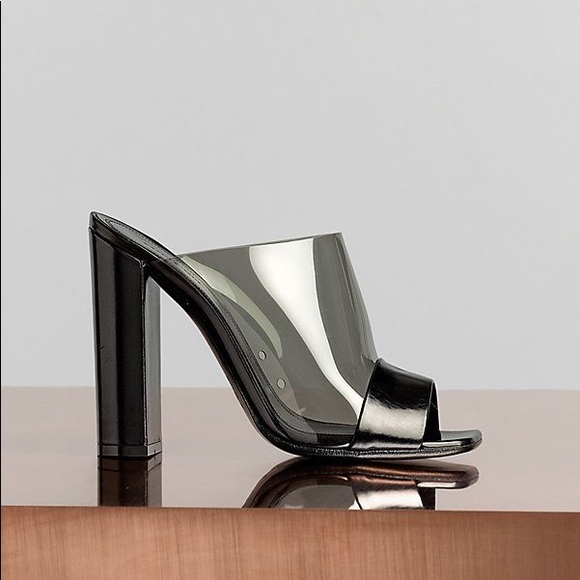 Black Perspex And Leather Mules 37